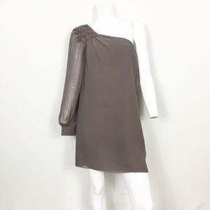 Tibi Silk One Shoulder 3D Floral Shift Mini Dress